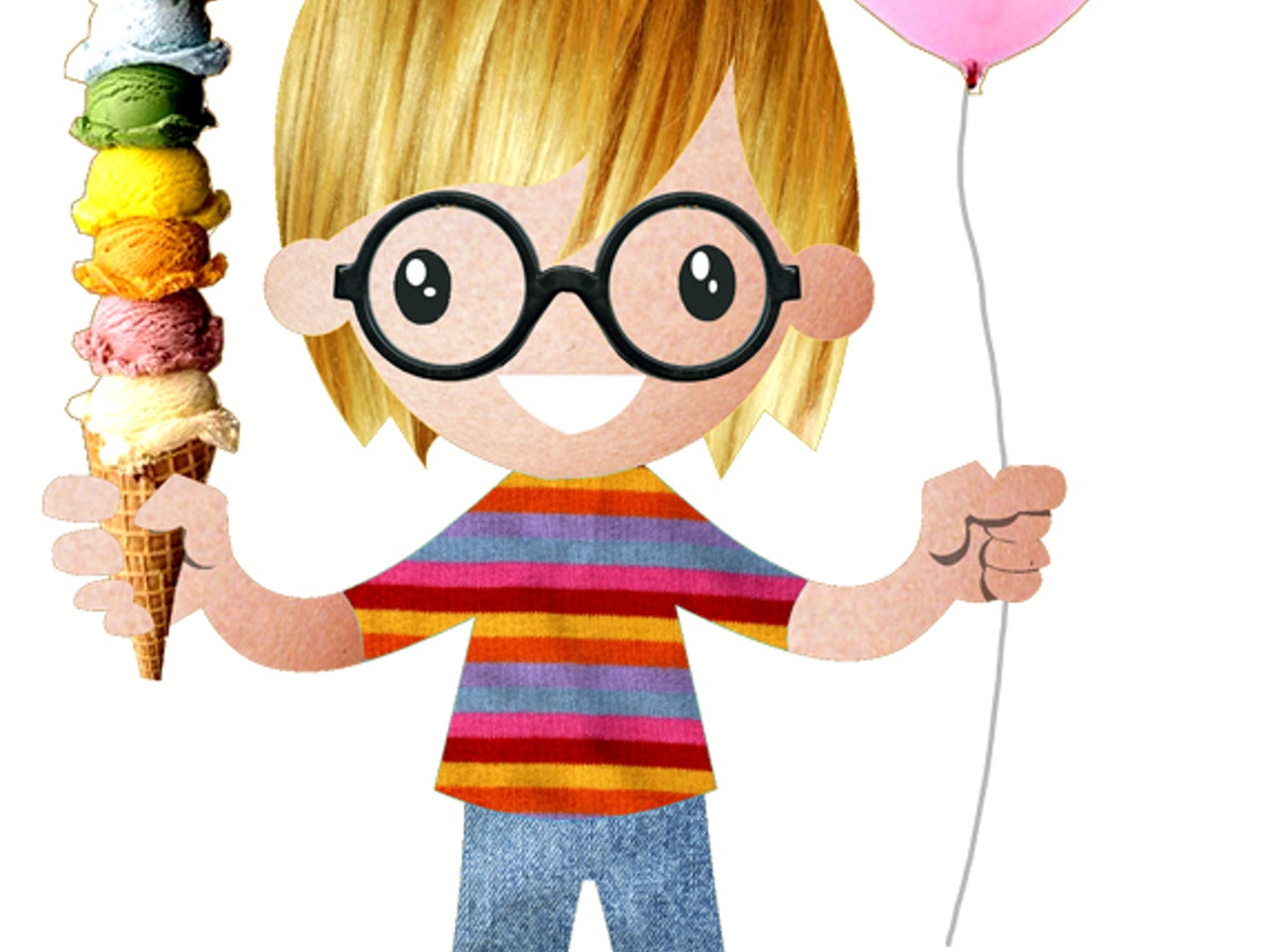 young boy glasses collage funny happy humorous comical colourful graphic illustration