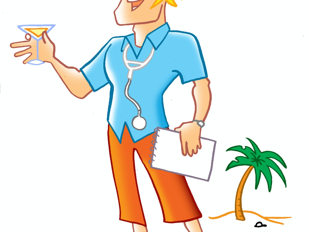 martini doctor desert island beach life palm tree retro illustration animation  humorous comical colourful graphic cartoon manga anime publishing