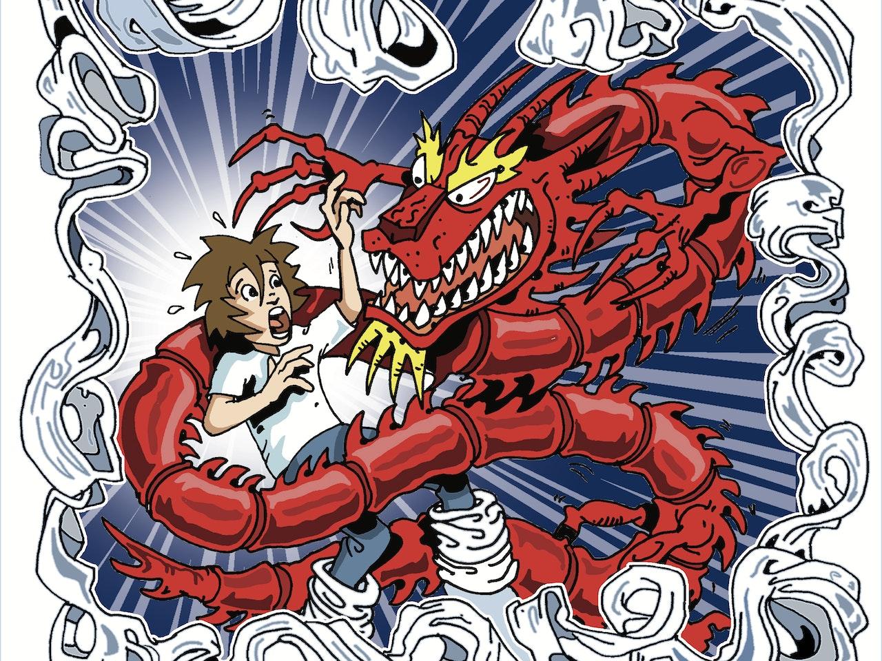 dragon dream nightmare monster serpent china legend myth martial arts kung fu fighting karate fantasy adventure Funky Happy manga anime childrens cartoon comic strip Book cover illustration animation