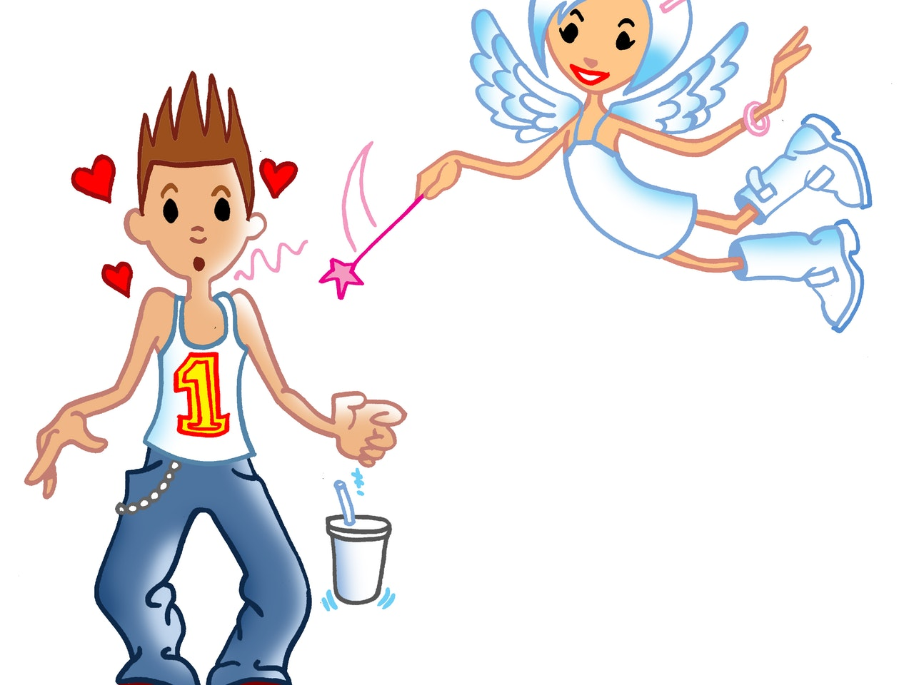 illustration animation  humorous comical colourful graphic cartoon manga anime publishing  cupid love valentines day heart angel teenagers romance
