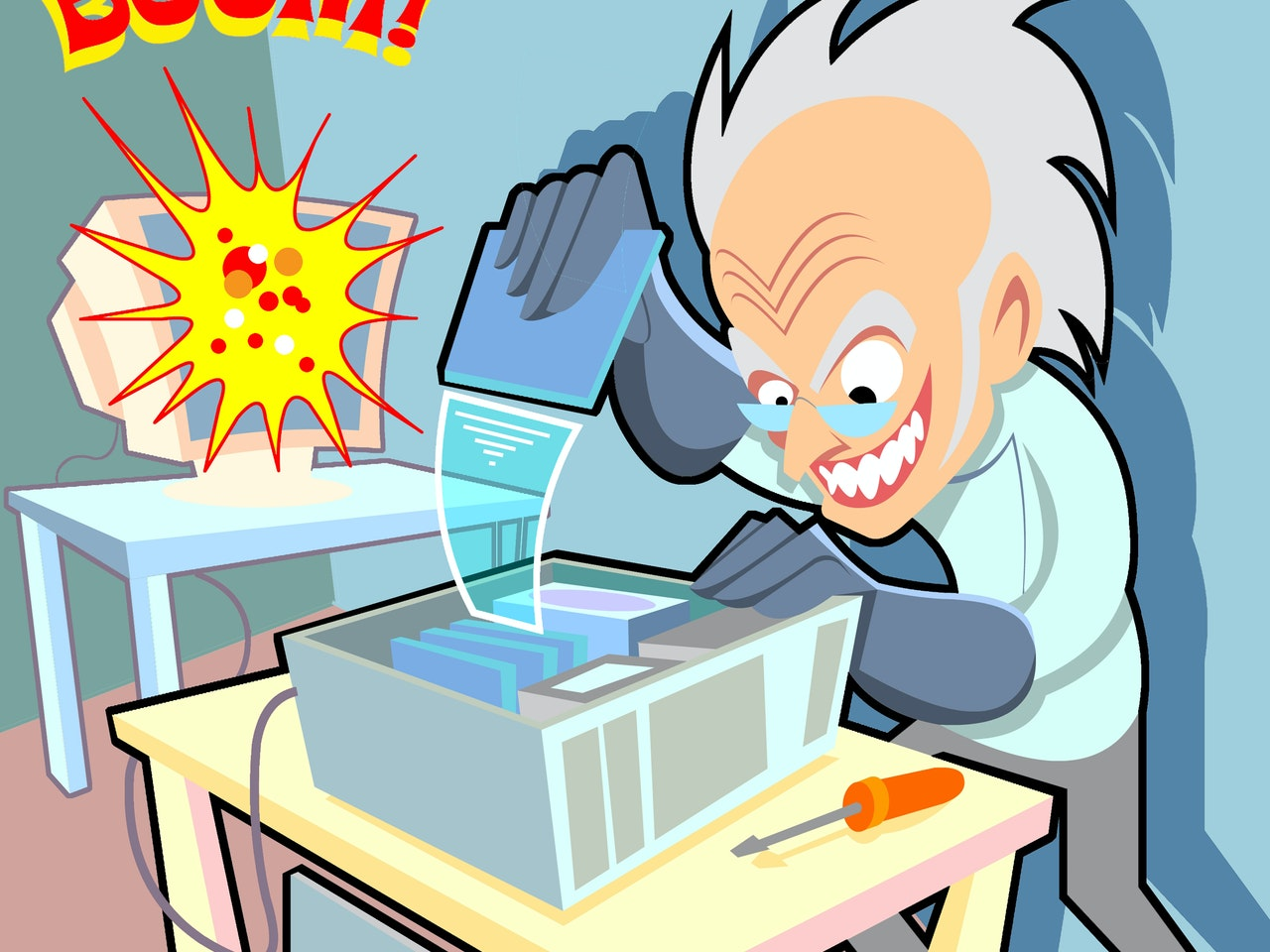 technician engineer mad scientist computer laboratory technology accident explosion funny happy humorous comical colourful graphic cartoon anime