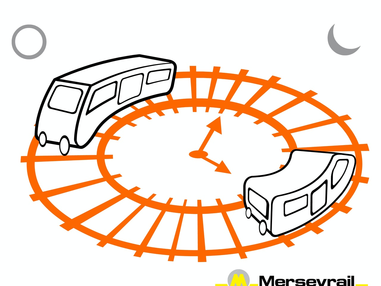 trains transport tram night and day cartoon illustration logo icon emoji linework simple basic emoticon mascot avatar