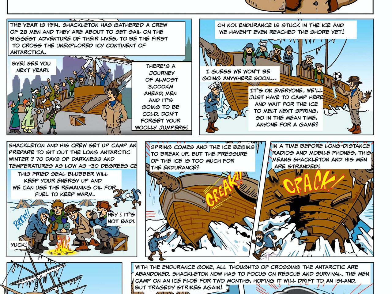 steampunk victorian historical history education hero illustration animation  funny humorous comical colourful graphic cartoon manga anime publishing explorer adventurer snow ice trapped ship north pole comic strip stotyboard