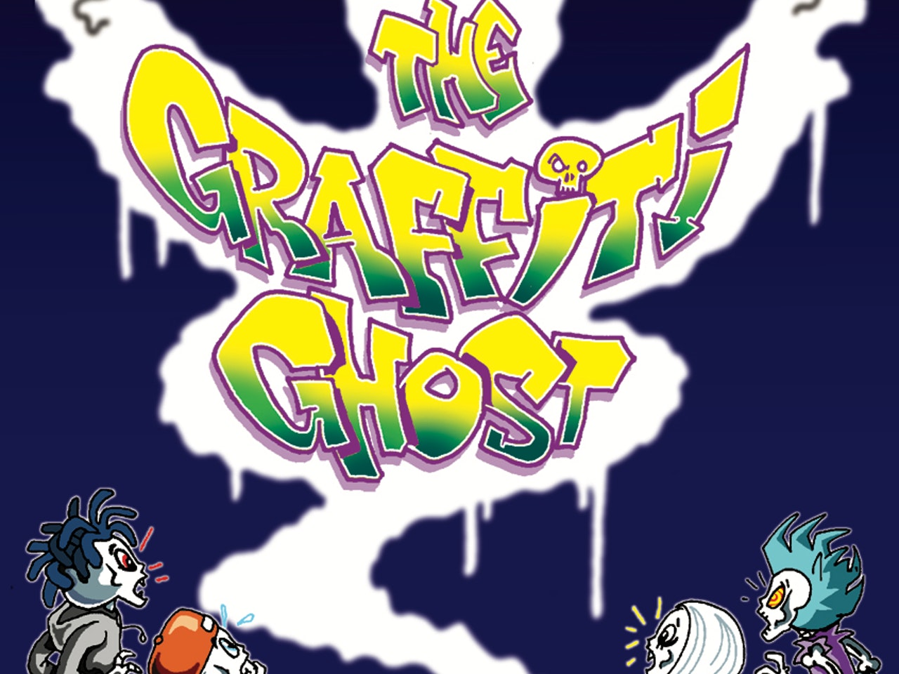 skateboarding skeletons horror halloween mystery halfpipe haunted ghoul funny Funky Happy graffiti mystery horror manga anime childrens cartoon comic strip Book cover illustration animation