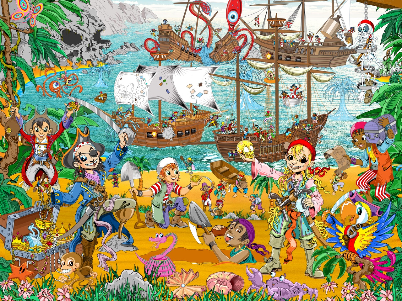 educational historical friendly funny Funky Happy manga anime childrens cartoon comic strip pirates buried treasure gold skull island kracken bluebeard