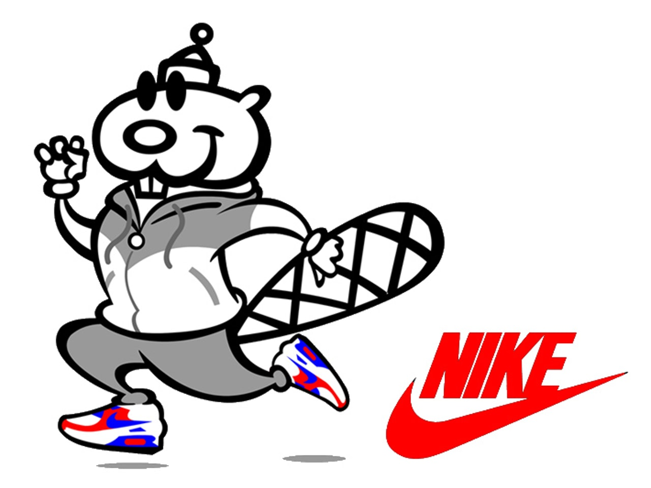 nike beaver un friendly cartoon tattoo  logo icon emoji linework simple basic emoticon mascot avatar sprite animation anthropomorphic character urban vinyl toy street art tracksuit  pictoplasma graffiti graff