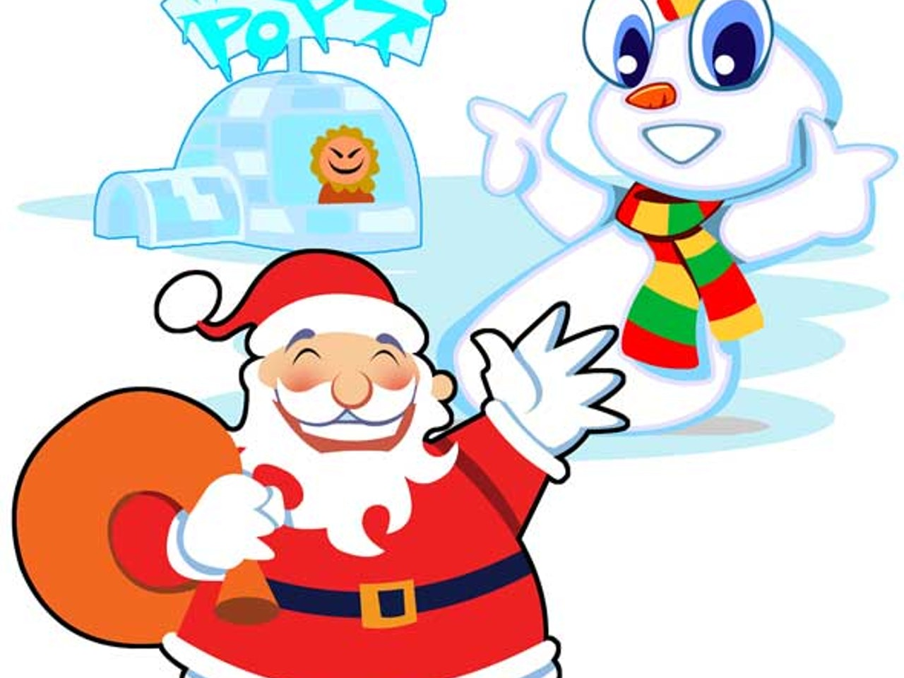 Cool funny Funky Happy manga anime childrens cartoon snowman-father-christmas xmas