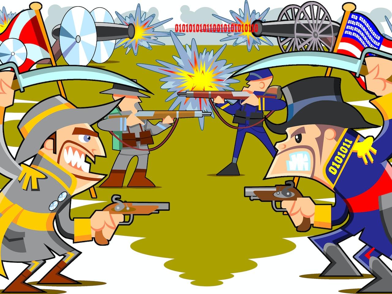 funny comical American civil war cartoon confederate union soldier cannon war battle army