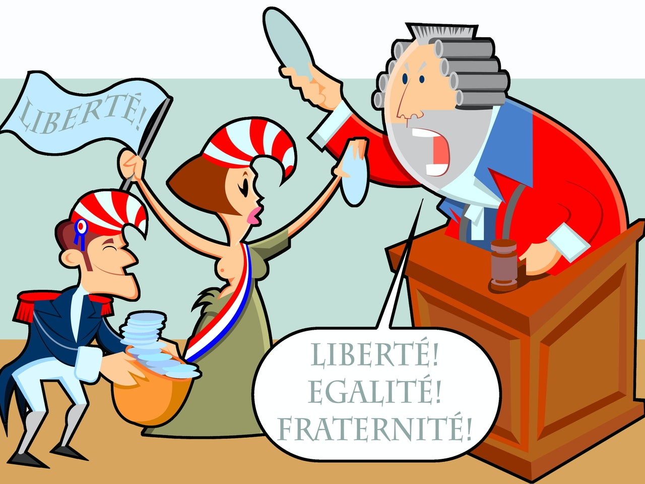 funny happy humorous comical colourful graphic cartoon anime french revolution  judge trial court liberty freedom justice