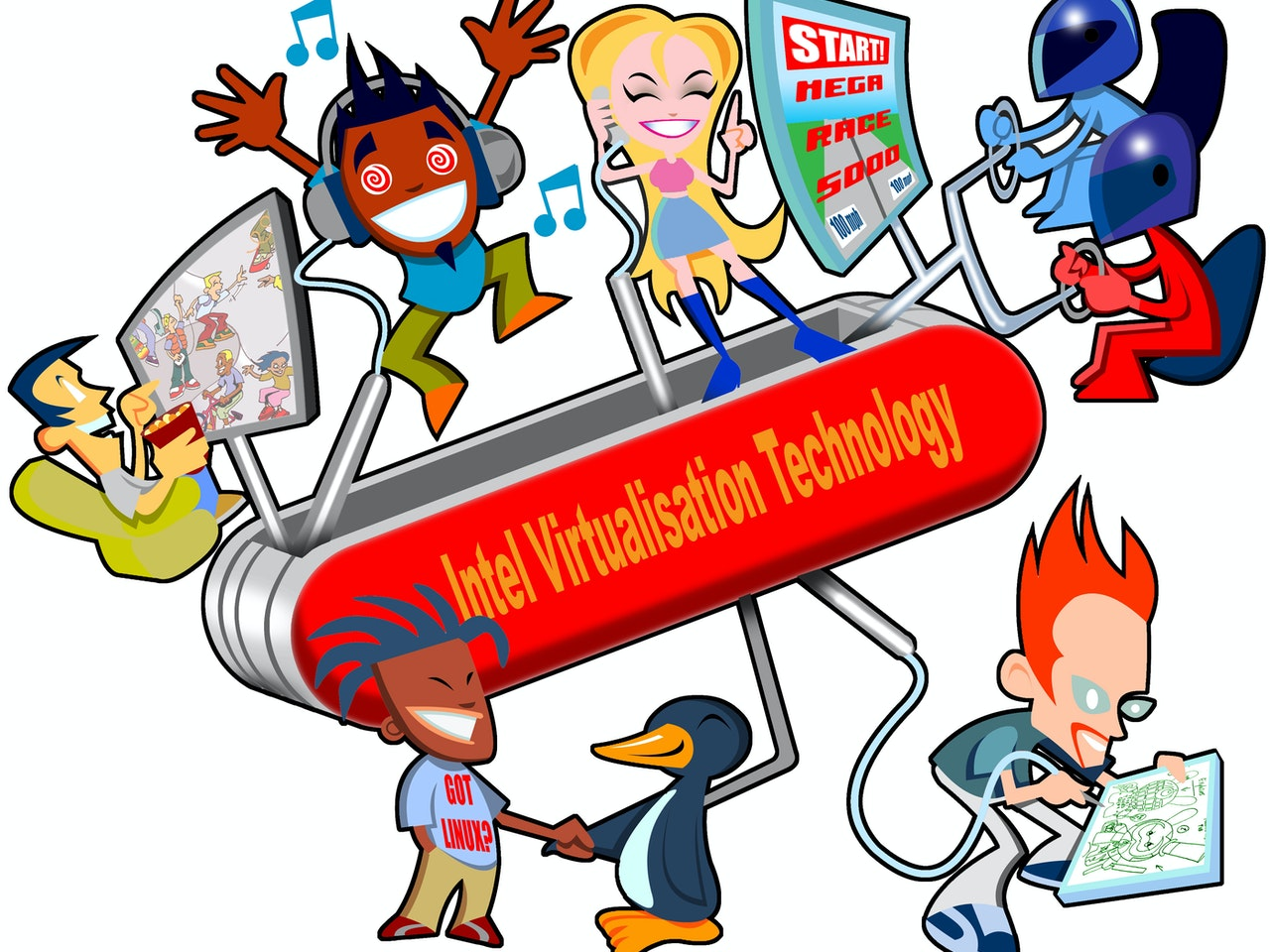 funny happy humorous comical colourful graphic cartoon anime swiss army computer knife gaming music dancing raving virtual reality internet online browsing streaming social network profile  facebook