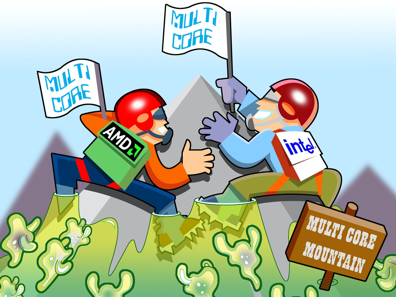 malware data hacking processor mountain climber amoeba virus funny happy humorous comical colourful graphic cartoon anime