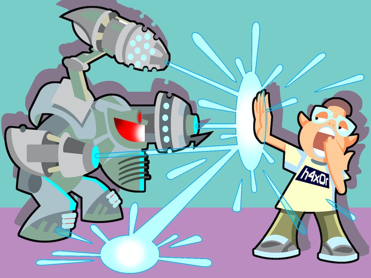 funny happy humorous comical colourful graphic cartoon anime battle weapon droid lazer gun nerd geek blast
