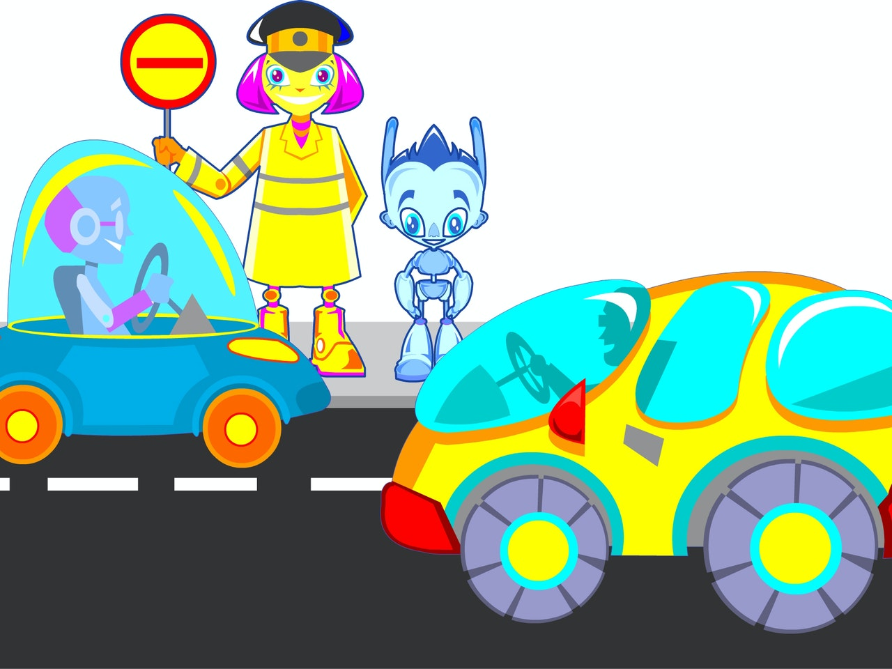 traffic warden cars road safety  droid mech technology smart happy humorous comical colourful graphic cartoon anime