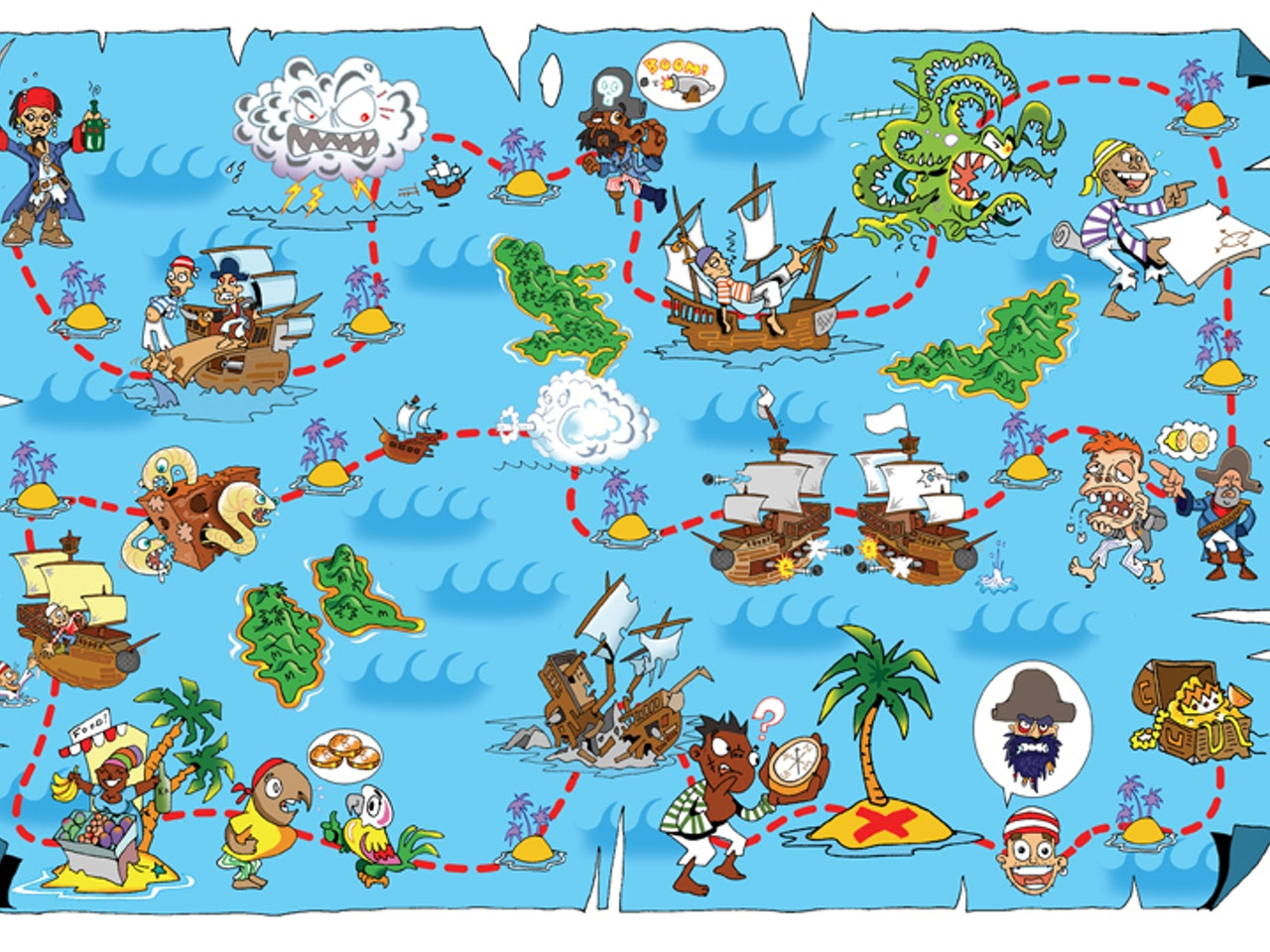 pirate game desert island krakken treasure map animation  humorous comical colourful graphic cartoon anime  educational historical  history galleon pirate ship sails navy sea  caribean cannon ball explorer Book cover illustration