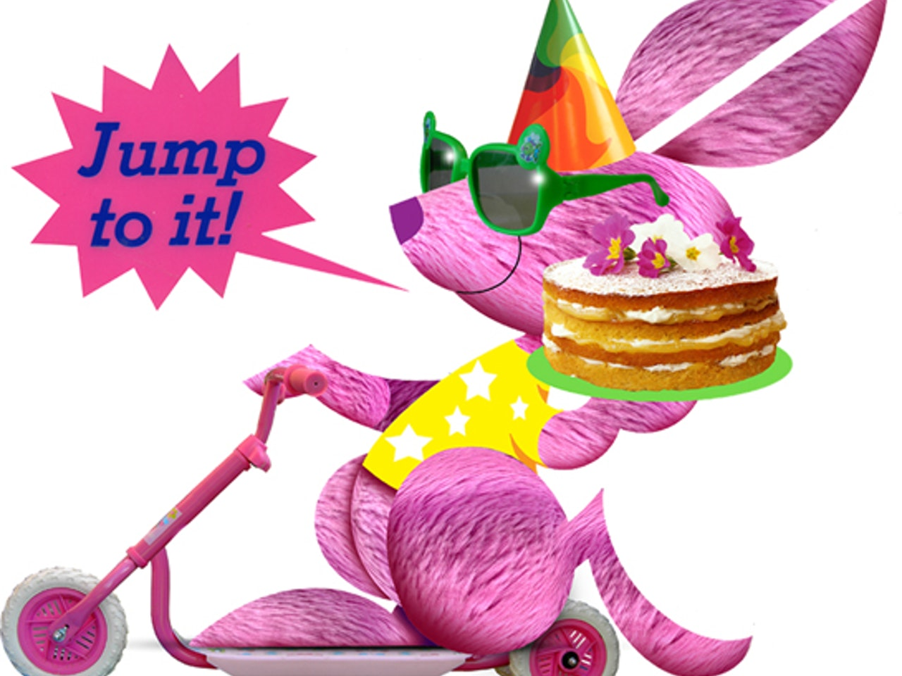 pink rabbit scooter cake party hat collage funny happy humorous comical colourful graphic illustration   retro vintage