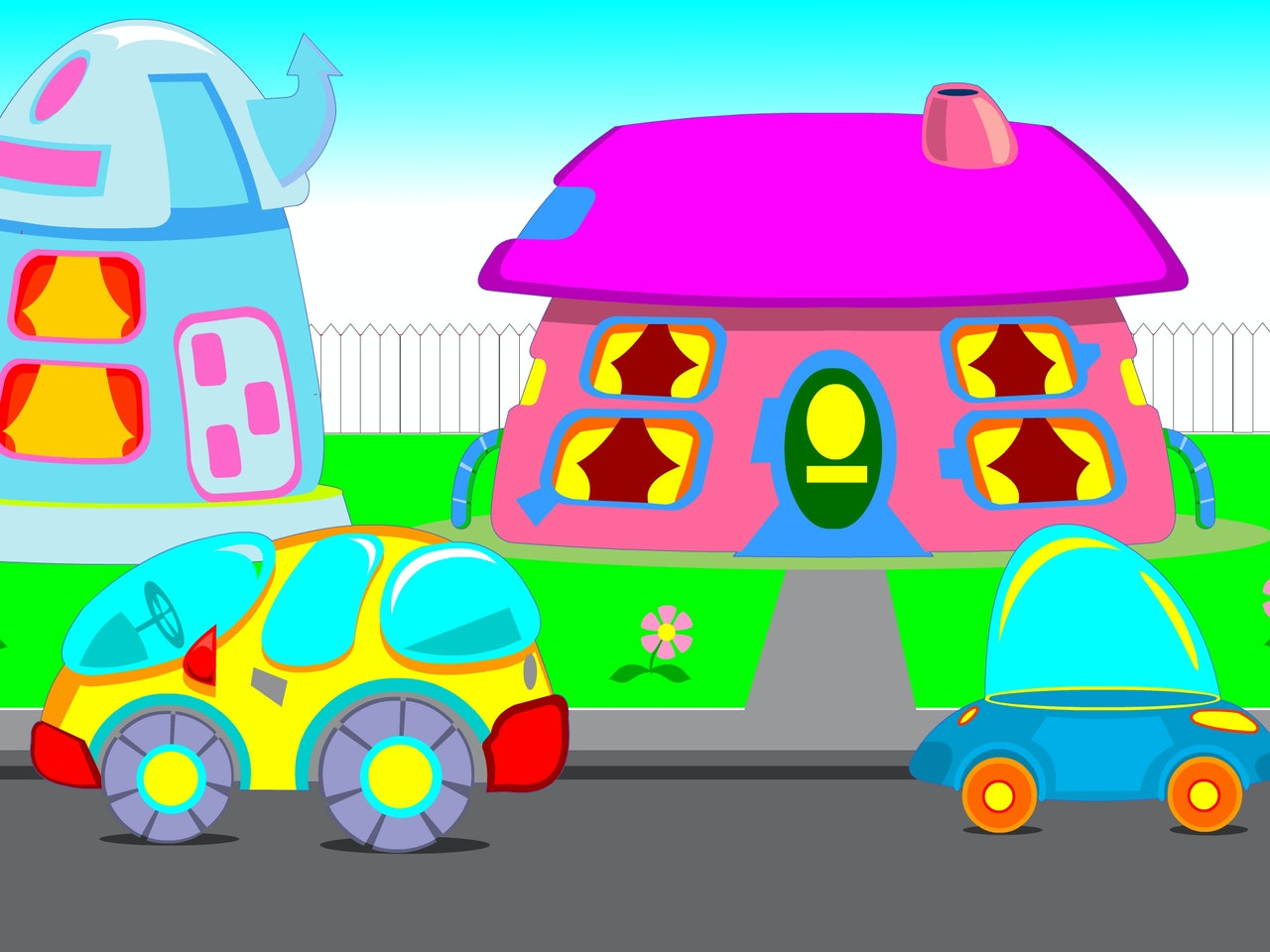 robotic house road safety future city educational healthy living droid mech technology smart happy humorous comical colourful graphic cartoon anime