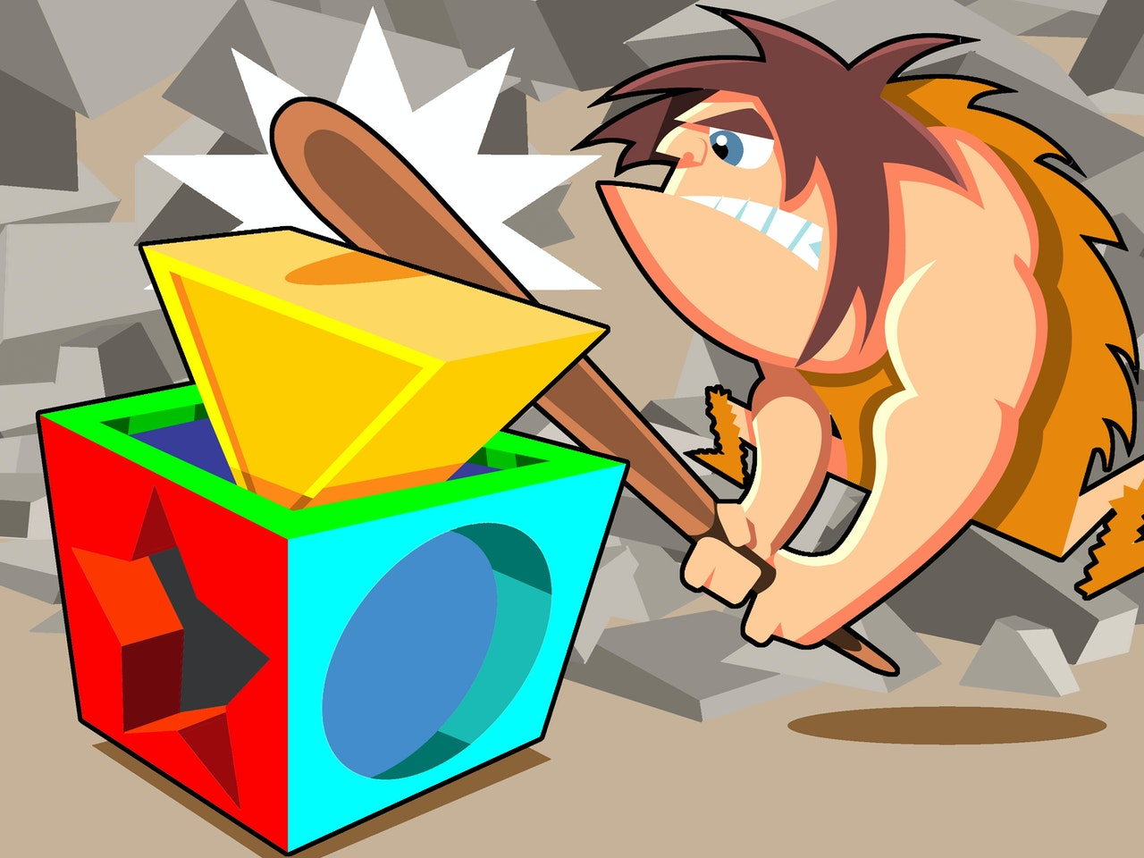 funny happy comical colourful graphic  caveman club childrens block toy prehistoric dinosaur flintstones