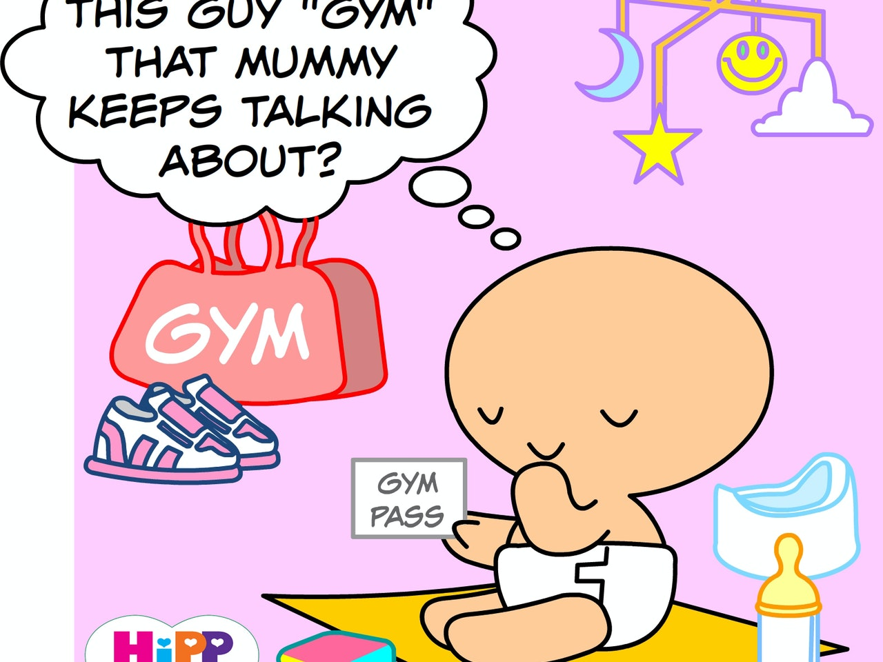 excercise gym nappy childrens illustration animation funny  humorous comical colourful graphic novel comic strip cartoon comic book  baby care child care mother healthy eating cute sweet loveable funny  adorable