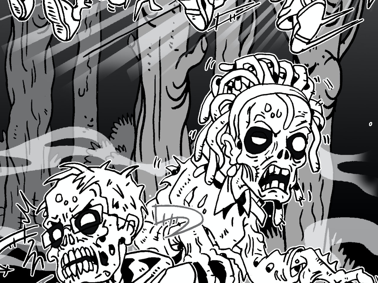 spooky horror science fiction ghoul zombies manga anime childrens cartoon comic strip Book cover illustration animation