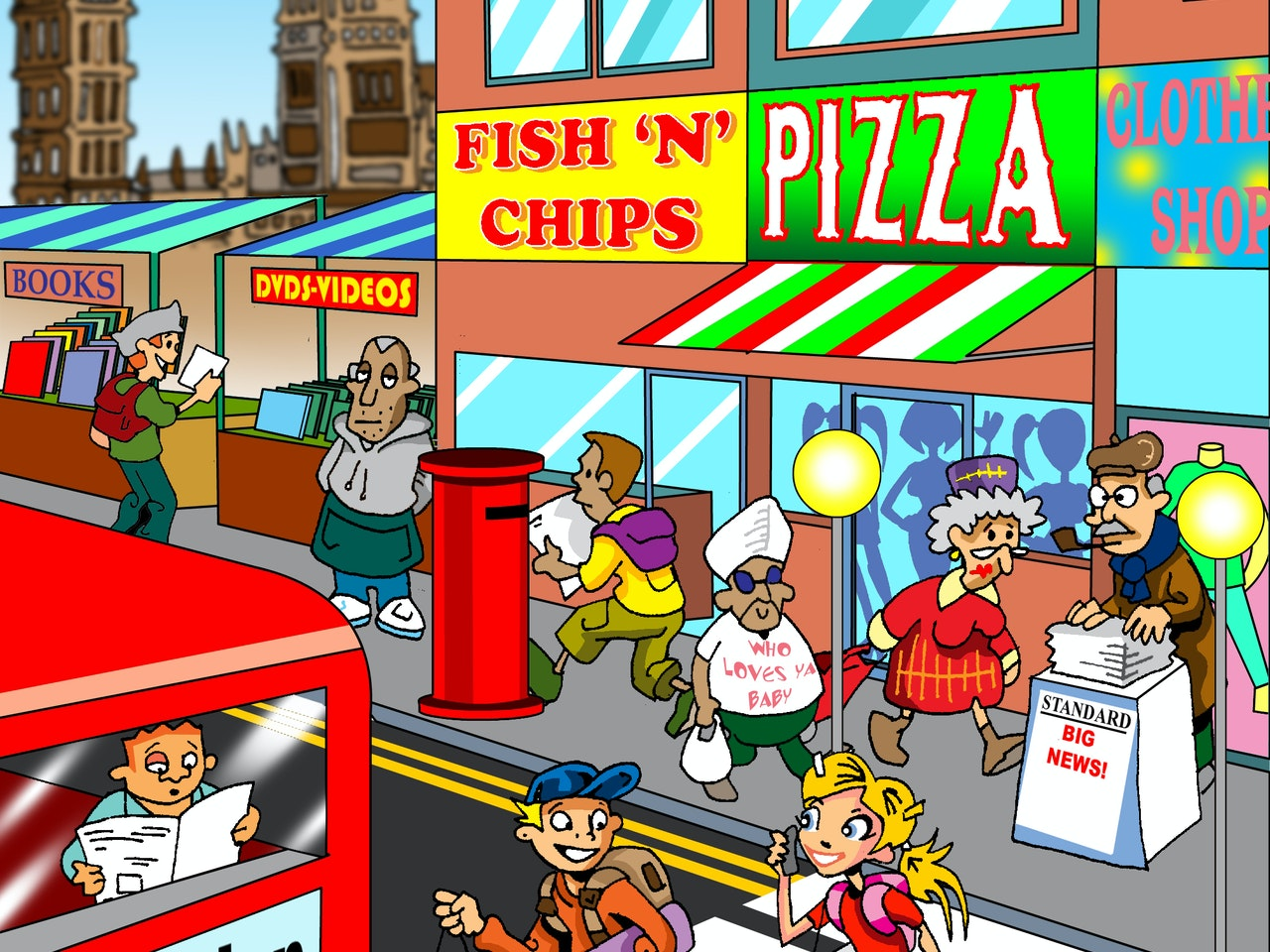 Book cover illustration animation  humorous comical colourful graphic cartoon anime educational publishing red double decker bus fish and chips pizza restaurant big ben house of commons england english red post box  shopping