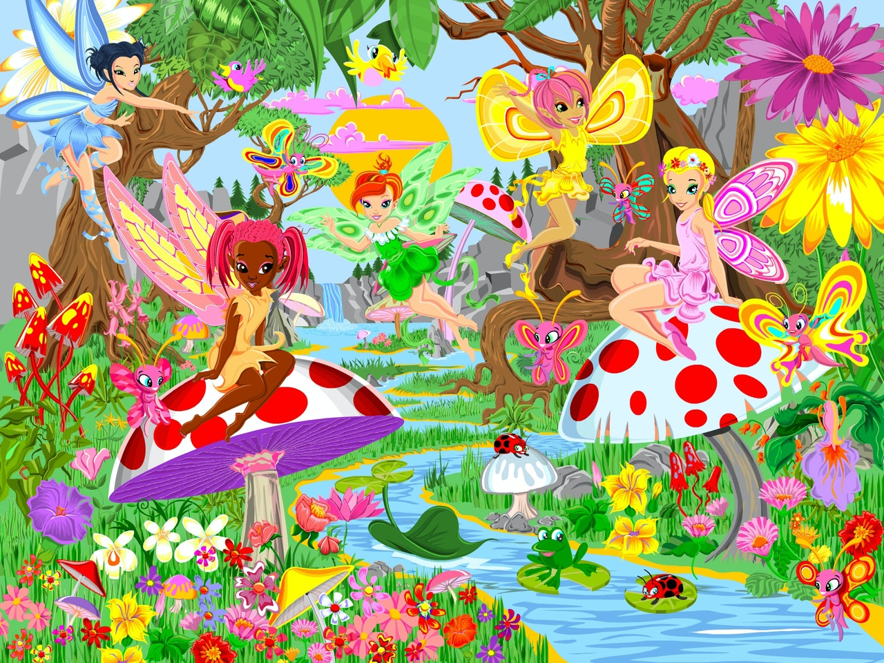 cute fairy fairies in a magic fantasy fairy tale forest