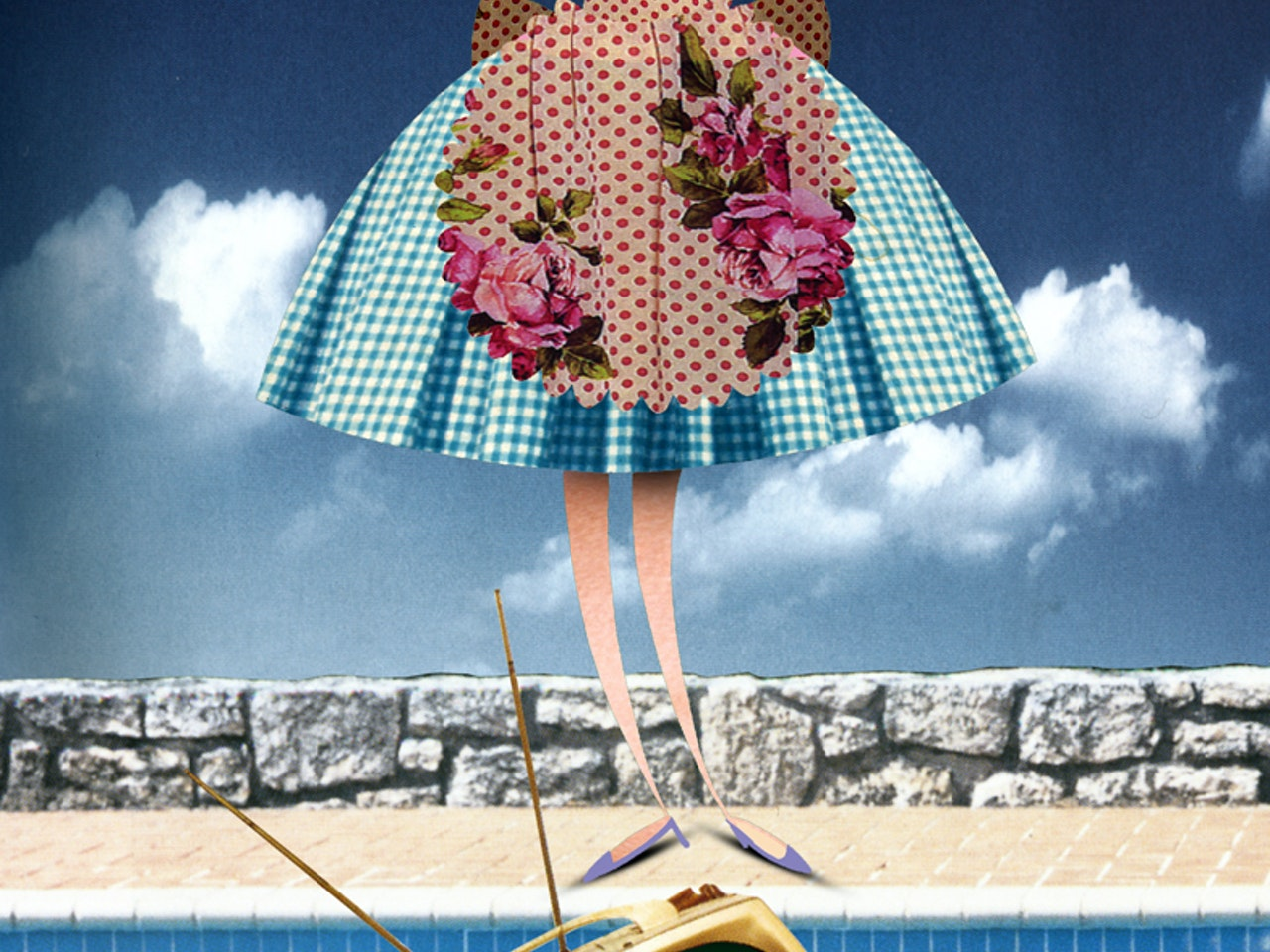 swimming pool house wife collage funny happy humorous comical colourful graphic illustration   retro vintage 1950s