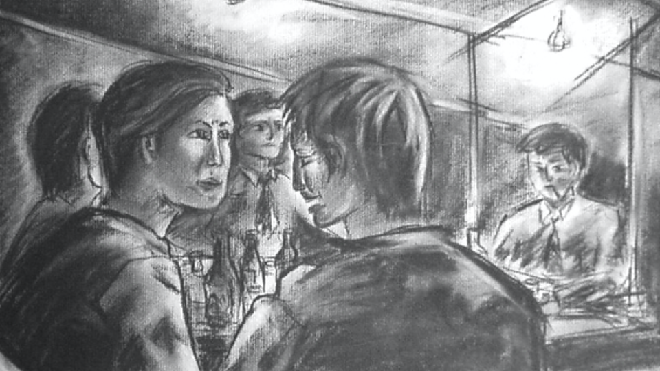 Inside the Soju Tent - Charcoal on paper