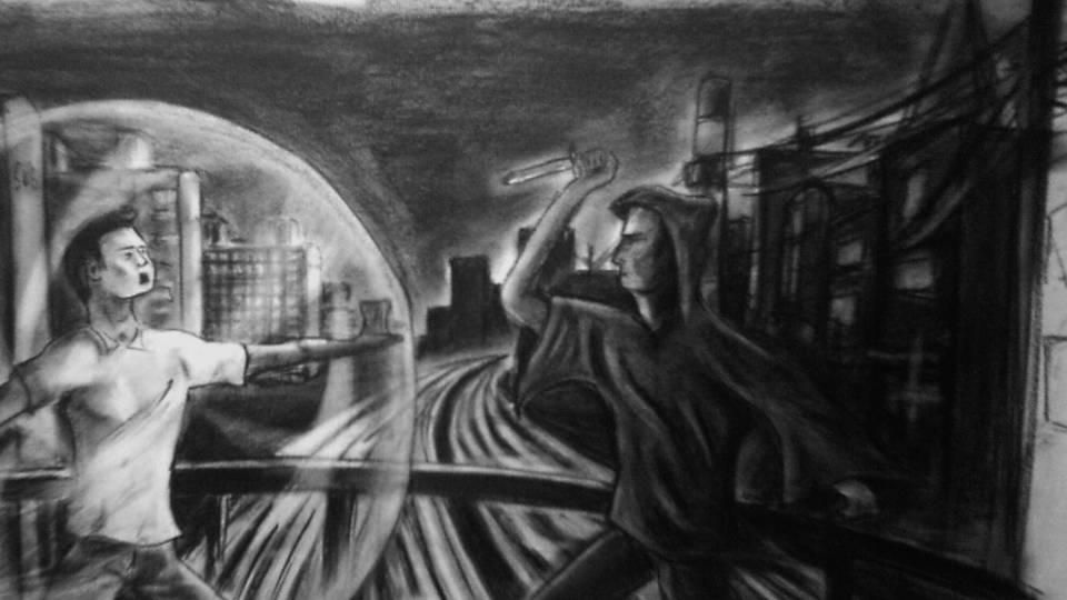 The First Bubble - Charcoal on paper