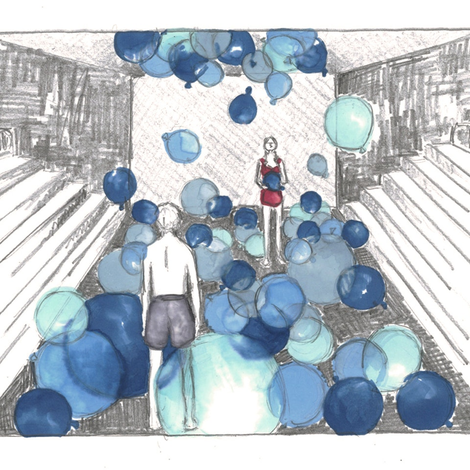 """GREAT WHITE Set design sketch for """"Great White"""", 2013"""
