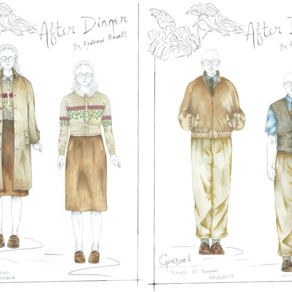 """AFTER DINNER Costume designs for """"After Dinner"""", 2015"""