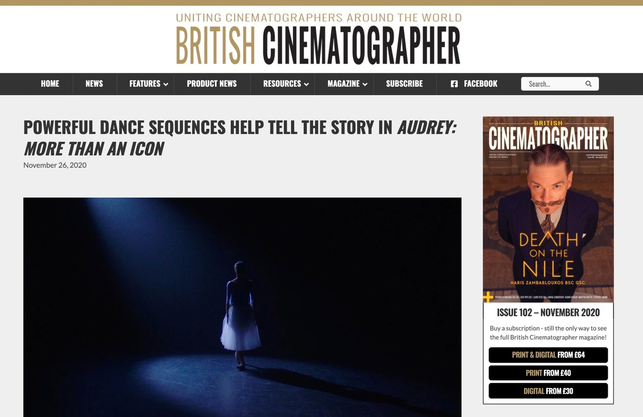 My work in British Cinematographer Magazine