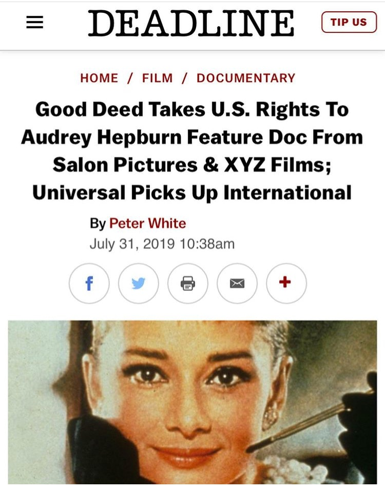AUDREY HEPBURN FEATURE DOCUMENTARY / UNIVERSAL PICTURES
