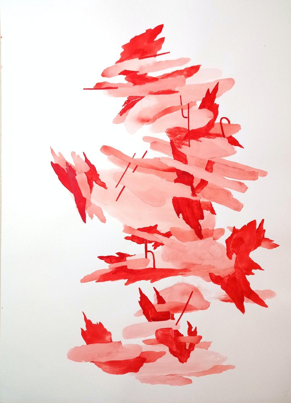 Blaze III_2021_Justin Southey - Justin Southey 2021 Blaze III Acrylic ink on paper 75cm x 55cm  ZAR 20 500