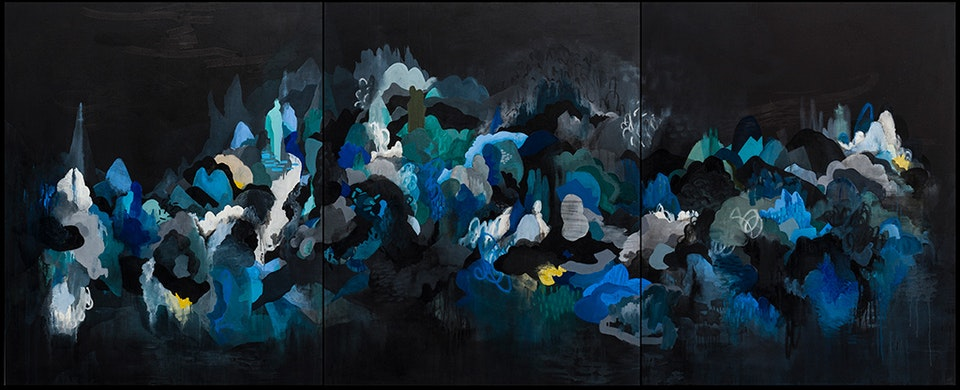 """JustinSouthey_2017_Enclave - Justin Southey 2017 """"Enclave"""" Oil on canvas 1400mm x 3045mm ( triptych) ZAR 98 000"""
