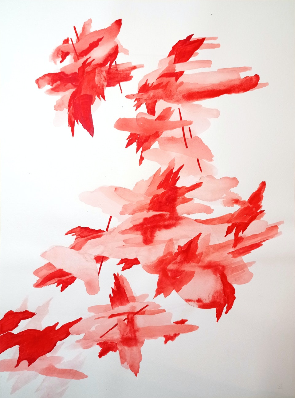 Blaze VI_2021_Justin Southey - Justin Southey 2021 Blaze VI Acrylic ink on paper 75cm x 55cm  ZAR 20 500