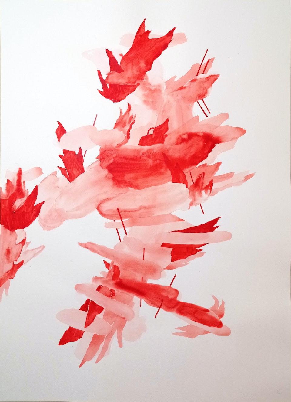 Blaze V_2021_Justin Southey - Justin Southey 2021 Blaze V Acrylic ink on paper 75cm x 55cm  ZAR 20 500