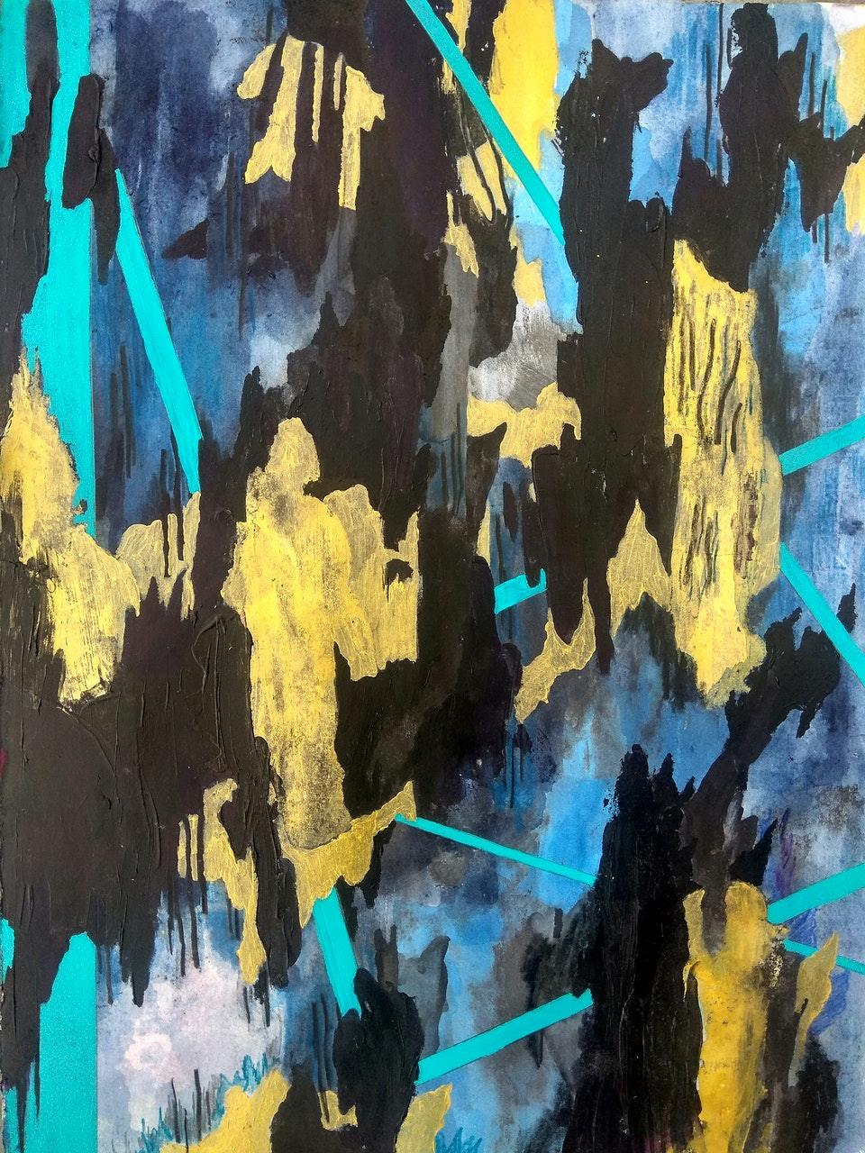 """JustinSoutheyReverb_2019 - Justin Southey 2019 """"Reverb"""" Acrylic on Paper (Framed) 330mm x 450mm ZAR 9000"""