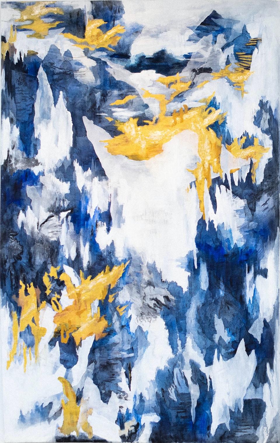 Devoiler_justinsouthey_2019_B - Justin Southey Dévoiler Acrylic & Gold Leaf on Canvas 1230 x 1960 mm 2019 ZAR 57 000