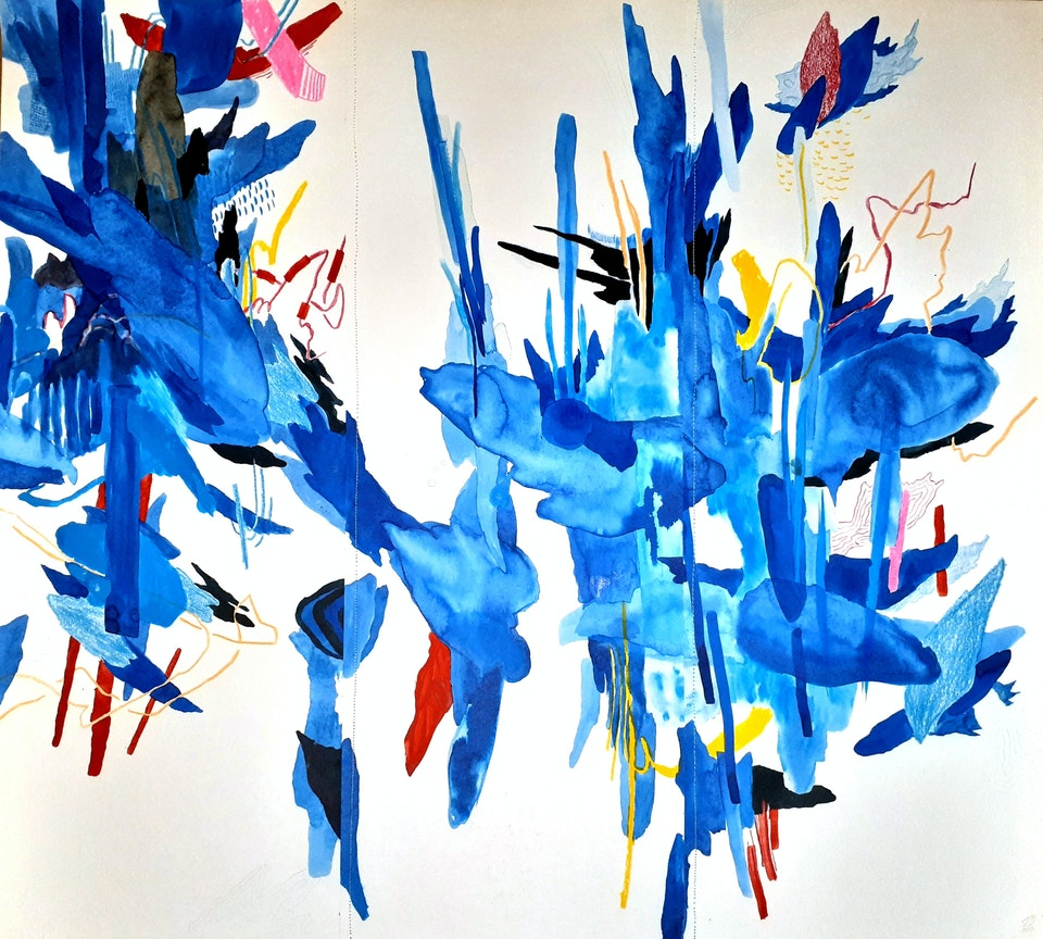 """Plume - Justin Southey 2020 """"Plume"""" Mixed Media on Fabriano 725mm x 650mm (Framed) ZAR 25 000"""