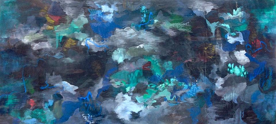 "JustinSouthey_2018_Adrift - Justin Southey 2017 ""Adrift"" Oil on Canvas 1200mm x 2640mm ZAR 75 000"