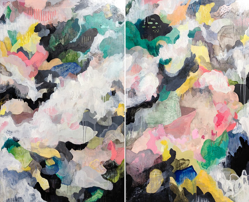 """The-suspension-of-disbelief_-JustinSouthey_2017 - Justin Southey 2017 """"The Suspension of Disbelief"""" Oil on wooden board (framed) 1800mm x 2200mm ( diptych) Everard Read Capetown/Circa Capetown ZAR 88 000"""