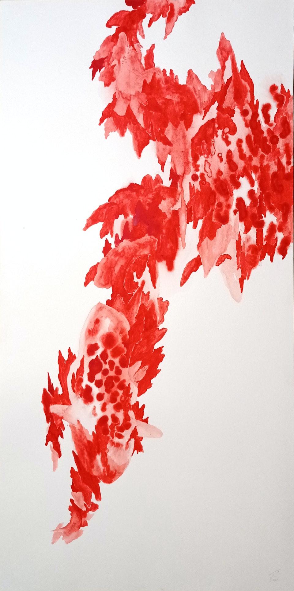 Roar_2021_Justin Southey - Justin Southey 2021 Roar Acrylic ink on paper 56cm x 28cm  ZAR 14 500