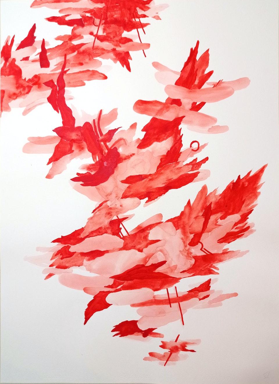 Blaze I_2021_Justin Southey - Justin Southey 2021 Blaze I Acrylic ink on paper 75cm x 55cm ZAR 20 500