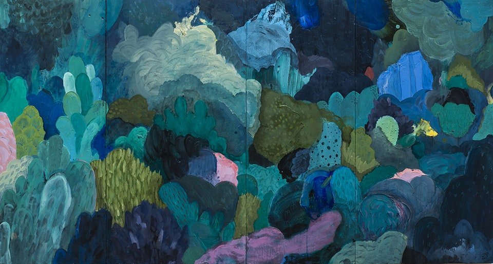 """Justin Southey_2015_Eden - Justin Southey 2015 """"Eden"""" Oil on wooden board 1285mm x 690mm unavailable"""