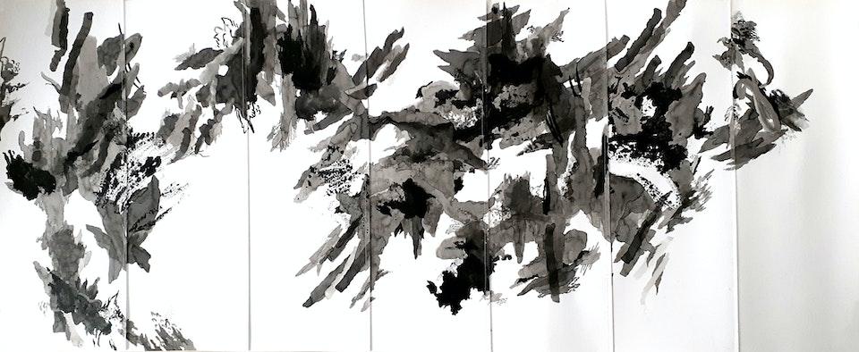 Advance - Justin Southey 2021 Advance ink on stitched paper 1640mm x 640mm ZAR 32 500 (FRAMED PRICE)