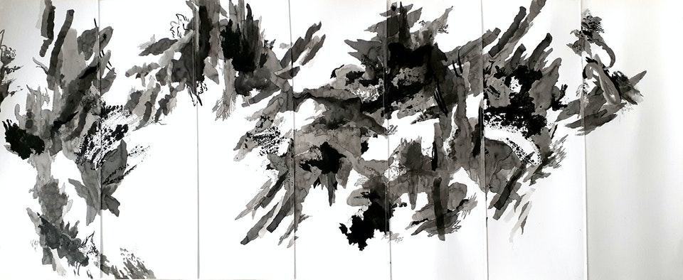 Advance - Justin Southey 2021 Advance ink on stitched paper 1640mm x 640mm ZAR 44 500 (FRAMED PRICE) Unshown