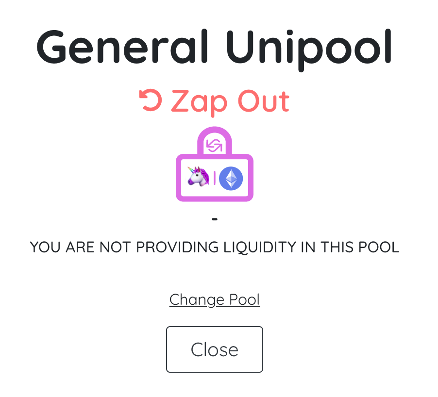 DeFiZap General Unipool Zap Out Pool