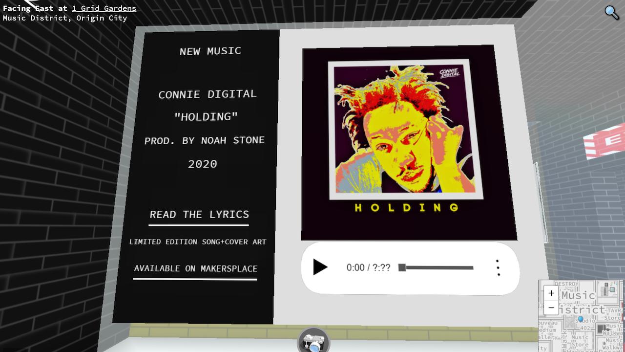 Connie Digital NFT Art music virtual gallery cryptovoxels