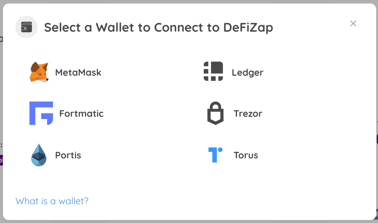 Connect Ethereum Wallet to DeFiZap