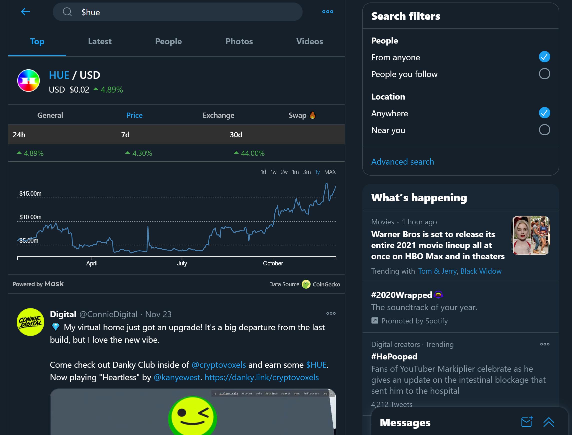 HUE Social Token on Twitter Uniswap Roll